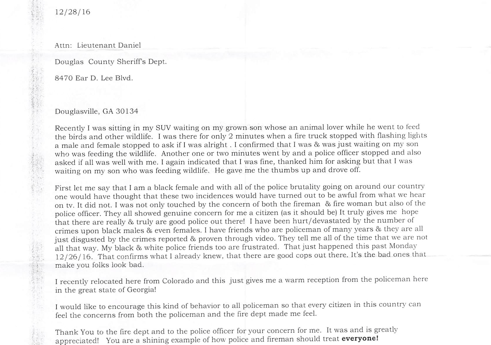 The Douglas County Sheriff's Office Recently Received This Letter of Thanks