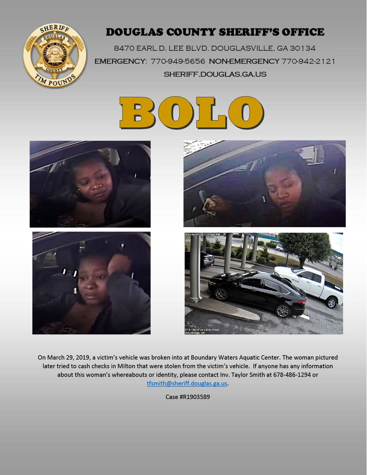 Woman Wanted in Entering Autos Case