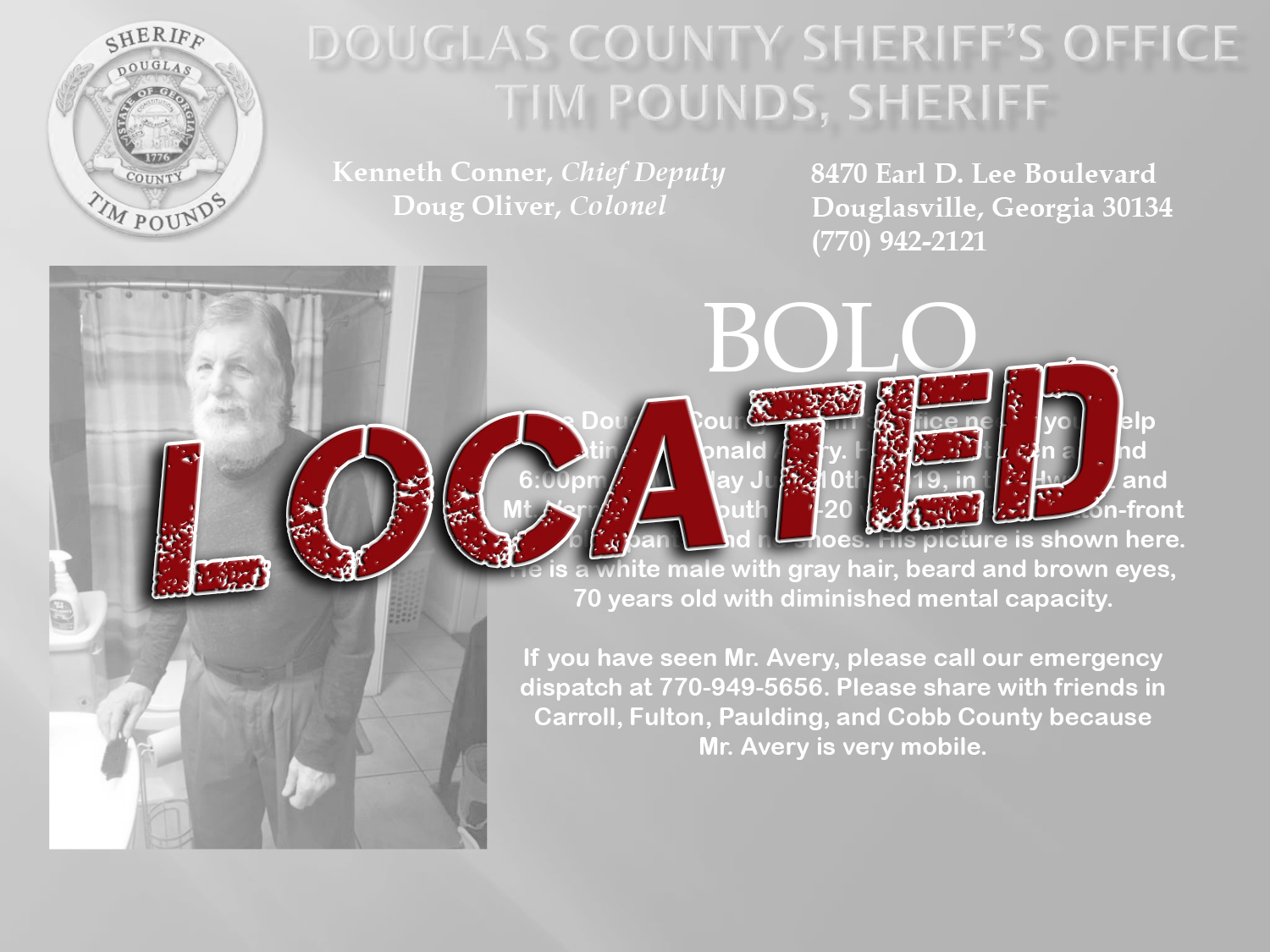 FOUND: Elderly Person Ronald Avery – Douglas County Sheriff's Office